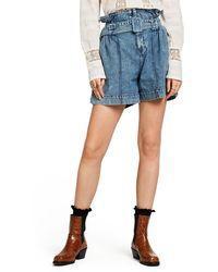Scotch & Soda High Paperbag Waist Denim Shorts - Blue