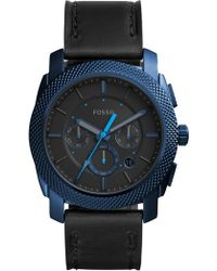 Fossil - Men's Machine Leather Watch, 45mm - Lyst