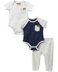 7 For All Mankind Bodysuit & Pants 3-piece Set (baby Boys) - Blue