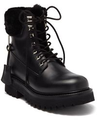 Buscemi Lace-up Boot With Genuine Lamb Fur - Black