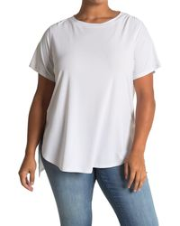 Halogen Short Sleeve Split Hem Tunic T-shirt - White