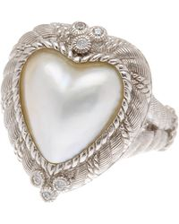 Judith Ripka - Sterling Silver Heart Mabe Pearl Ring - Lyst