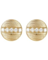 Adornia - 14k Gold Plated Swarovski Crystal Accented Coin Stud Earrings In Yellow At Nordstrom Rack - Lyst