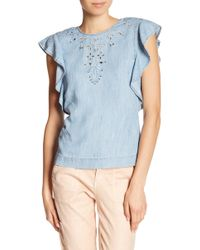 Level 99 - Ruby Chambray Flutter Blouse - Lyst