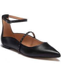 Halston - Arwen Black Leather Studded Flat - Lyst