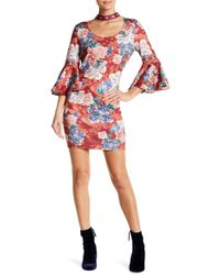Jealous Tomato - Floral Mock Neck Bodycon Dress With Bell Sleeves - Lyst