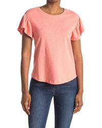 7 For All Mankind Ruffle Sleeve Tee - Multicolor