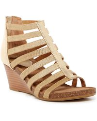 Söfft - Mati Caged Leather Wedge Sandal - Lyst