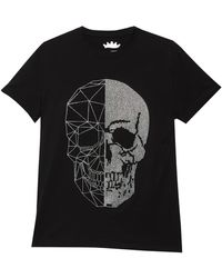 Xray Jeans Skull Print Rhinestone Flex T-shirt - Black