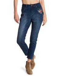 Workshop Vintage Rose Embroidery High Waist Ankle Jeans - Blue