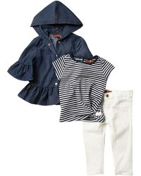 7 For All Mankind Navy Stripe 3-piece Set (baby Girls) - Blue