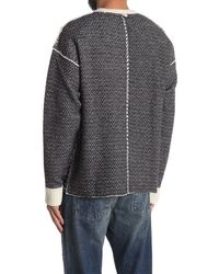 Ovadia And Sons Houndstooth Wool Pullover Sweater - Black