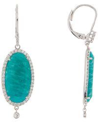 Meira T - 14k White Gold Blue Amazonite & Diamond Dangle Earrings - Lyst