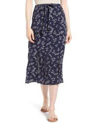 Hinge Print Tie Front Midi Skirt - Blue