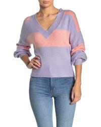 Mustard Seed Two-tone Striped Dolman Sweater - Purple