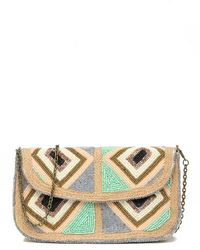 G-Lish Beaded & Jute Clutch - Multicolor
