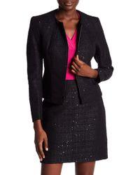 Anne Klein - Zip Front Collarless Tweed Jacket - Lyst