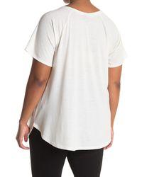 Bobeau Split Neck Screen Graphic T-shirt - White