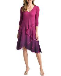 Komarov Ombr? Tiered Chiffon & Charmeuse Cocktail Dress - Purple