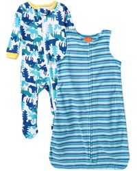 Joe Fresh Print Bodysuit & Stripe Sleepsack - 2-piece Set (baby Boys) - Blue