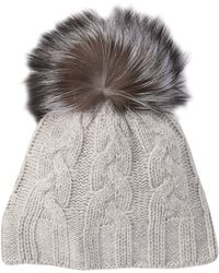 f3220507d Cashmere Cable Knit Beanie With Genuine Dyed Fox Fur Pompom - Gray