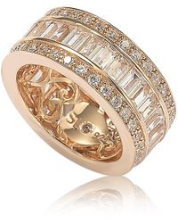 Suzy Levian 14k Rose Gold Plated Sterling Silver Baguette-cut & Round-cut Cz Eternity Band - White