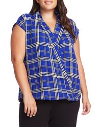 Vince Camuto Highland Plaid Wrap Front Cap Sleeve Top - Blue