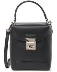 Lancaster Top Handle Small Leather Crossbody Bag - Black