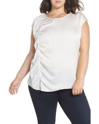 Sejour Gathered Front Shell - White