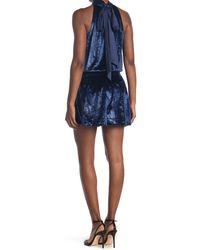 Ramy Brook Lori Metallic Velvet Sleeveless Mini Dress - Blue
