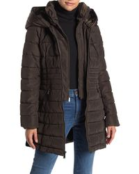 Laundry by Shelli Segal Faux Fur Accented Velvet Trimmed Bibbed Puffer Coat - Multicolour