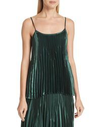 Vince Chevron Pleated Satin Tank Top - Green