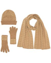 Michael Kors Monogramed Knit 3-piece Set - Natural