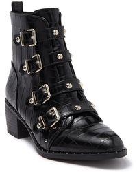 Catherine Malandrino Croc Embossed Studded Boot - Black