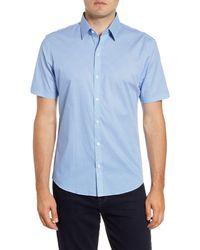 Zachary Prell Mathews Regular Fit Geo Short Sleeve Button-up Sport Shirt - Blue