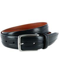 Trafalgar Embossed Italian Leather Dress Belt With Stitching - Black