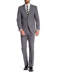 Perry Ellis - Grey Plaid Two Button Notch Lapel Slim Fit Suit - Lyst
