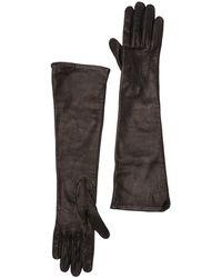 Burberry Long Silk-lined Lambskin Gloves - Black