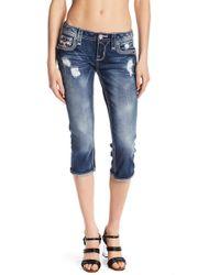 Rock Revival Fleur-de-lis Button Capri Jeans - Blue