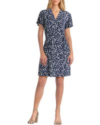 Isaac Mizrahi New York Isaac Mizrahi Floral V-neck Dress - Blue