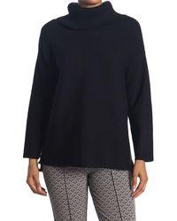 Joan Vass Long Sleeve Cowl Neck Top - Black