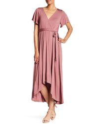 West Kei Flutter Sleeve High/low Wrap Dress - Purple