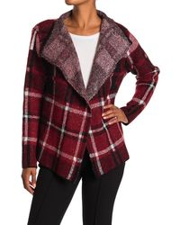 Joseph A Plaid Open Front Cardigan Sweater Jacket - Red