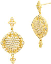 Freida Rothman - 14k Yellow Gold Plated Sterling Silver Pave Set Cz Flat Disc Drop Earrings - Lyst