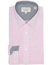 Ted Baker Diamond Print Endurance Fit Shirt - Pink