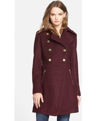 Guess Double Breasted Boucle Cutaway Coat - Purple