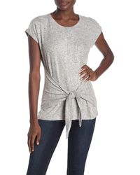 Bobeau Hacci Tie Front T-shirt - Gray