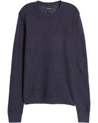 Nordstrom Nordstrom Stripe Linen & Cotton Crewneck Sweater - Blue