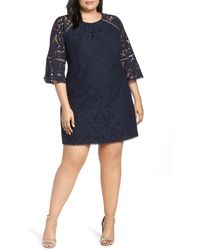 Vince Camuto Plus Size Lace Bell Sleeve Shift Dress - Blue