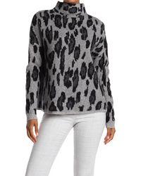 Catherine Malandrino Leopard Print Mock Neck Cashmere Sweater - Multicolor